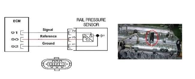 схема датчика давления топлива в рампе
